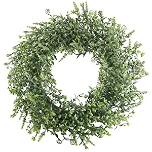 XYXCMOR 18 inch Boxwood Wreath Artificial Green Leaves Wreath Greenery Wreath for Front Door Farmhouse Decor Spring Wall Window Housewarming Gift Project