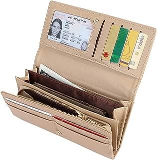 Women's Long Bifold Credit Card Holder Zipper Pocket Clutch Wallet Purse, Beige
