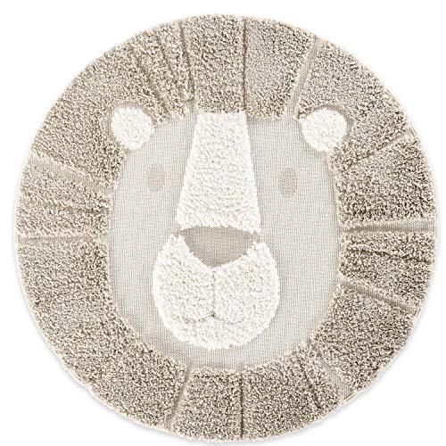 Teppich Löwe Rund, 120x120cm Braun-Weiß, weicher Hochflor mit robustem Flachgewebe kombiniert