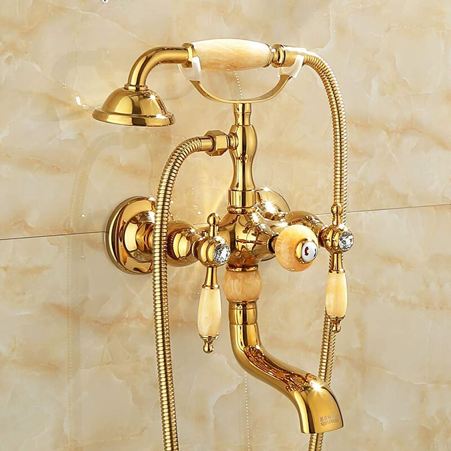 Shower set LJ European style gold copper bathtub faucet, triple simple (color   D)