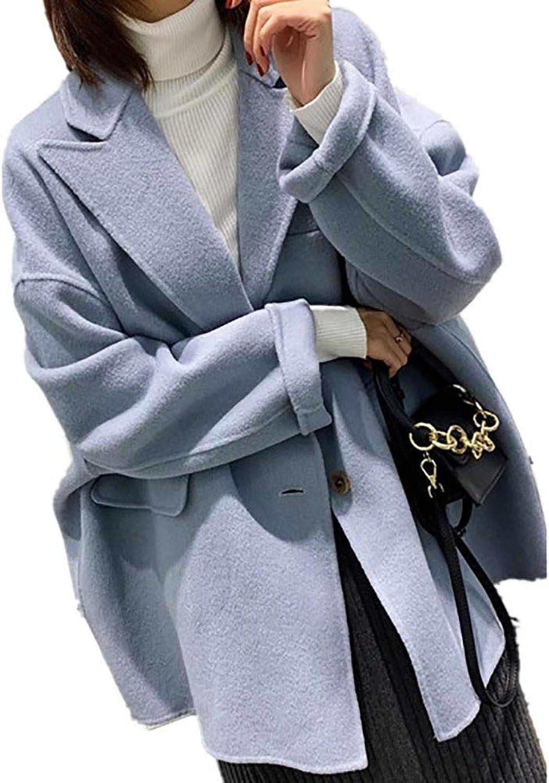 CG Women's Lapel Long DoubleFaced Wool Autumn and Winter Wool Coat LS3