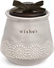 DEMDACO Wishes White 4.5 x 4.5 Inch Stoneware Decorative Jar