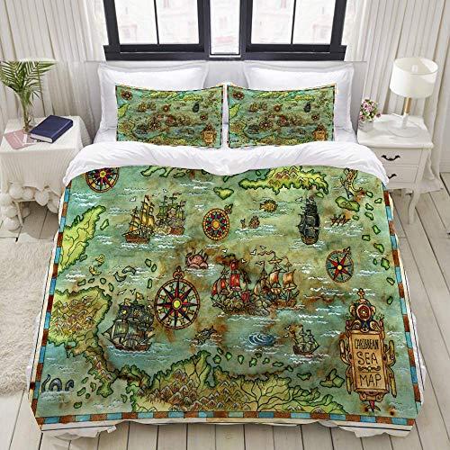 Ensemble de Housse de Couette, Bateaux de Pirate de la Carte de la mer des Caraïbes Anciennes, Ensemble de literie décoratif coloré de 3 pièces avec 2 taies d'oreiller