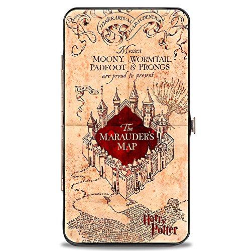 Buckle-Down Damen-Geldbörse mit Schnappverschluss – Hogwarts-Schule, die Karte des Rumtreibers, Hellbraun/rot, Mehrfarbig, 7 x 4 US