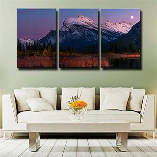 IMAX666 Tableau Multi Panneau 3 Parties Paysage Réflexion du Lac des Montagnes Tableau Imprimé sur Toile,Tableau Imprimé X...