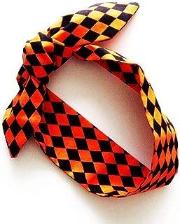 Orange and Black Harlequin Head Scarf / ME2Designs Multipurpose Cotton Accessory