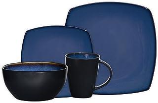 Gibson Elite 61221.16RM Soho Lounge Square 16-Piece Reactive Glaze Dinnerware Set Service of 4, Stoneware, Blue