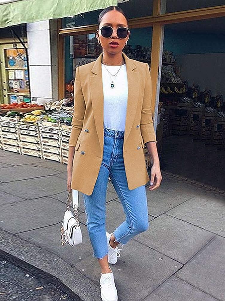 Minetom Damen Cardigan Elegant Blazer Langärmliger Anzugjacke Einfarbig Blazer Business Slim Fit Bolero Jacke Anzug Trenchcoat 01 Khaki