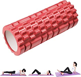 Yescom 33cm Yoga Roller Foam Grid Trigger Point Massage Pilates Physio Gym Exercise EVA PVC Red