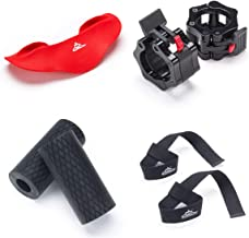 Black Mountain Products Weight Lifting Kit for Barbells and Dumbbells - Fat Grips Squat Pad Barbell Collars and Lifting Straps