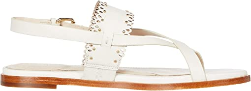 Ivory Leather/Gold Studs