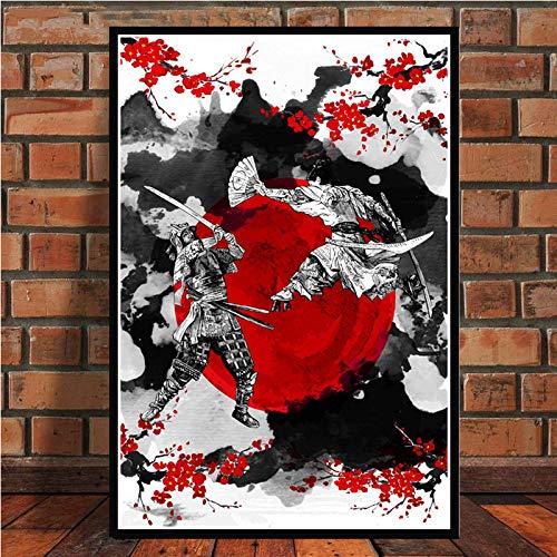 Cuadro En Lienzo,Samurai Japonés Luchando Bajo El Cerezo Ukiyo-E Carteles No Tejidos Mural, Arte 3D Imagen Vertical Pintura De Pared Obra De Arte Dormitorio Decoraciones De Oficina En El Hogar, 20 C