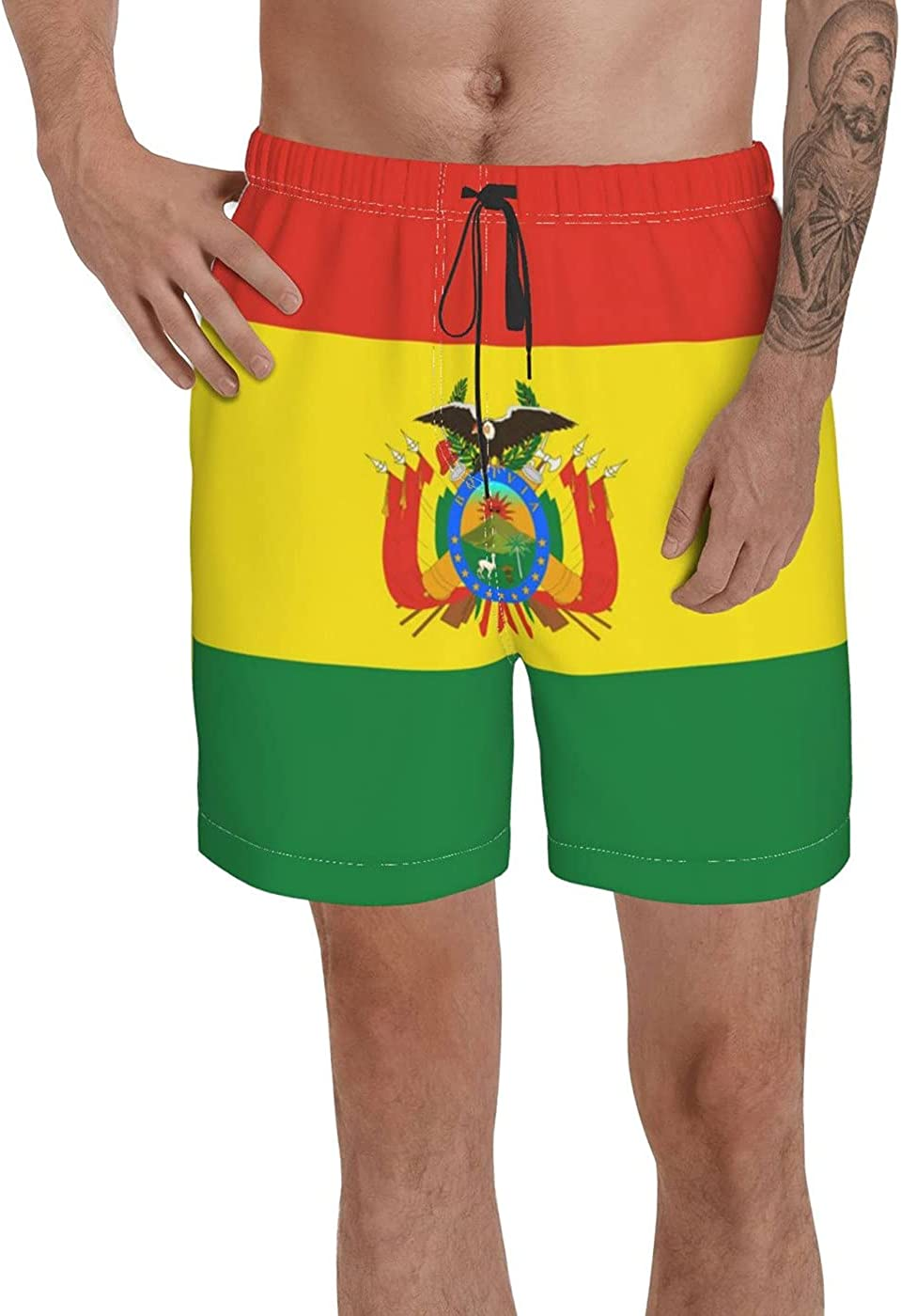Count Bolivia Flag Men's 3D Printed Funny Summer Quick Dry Swim Short Board Shorts with