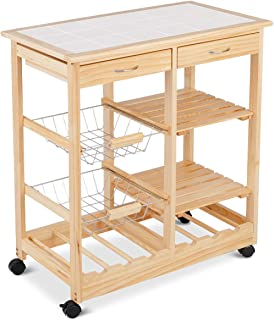 HTH STORE Rolling Wood Kitchen Trolley Cart Island Shelf with Storage Drawers Baskets Furniture for Kitchen