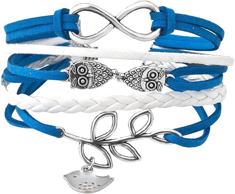 QA/_ LC/_ Unisex Multilayer Infinity Owl Hope Charm Handmade Cuff Bracelet Bangl