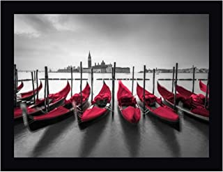 Bunch of Roses and Umbrella on pier with Gondolas moored in Canal, Venice, Italy by Assaf Frank 21