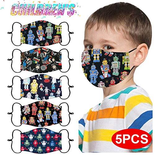 5 Stück Kinder Mundschutz Bunt-zurück zur Schule Montag bis Freitag -Kinder Mundschutz Baumwolle Mund und Nasenschutz Waschbar Wiederverwendbarer Mundschutz (F1, 5 Stück)