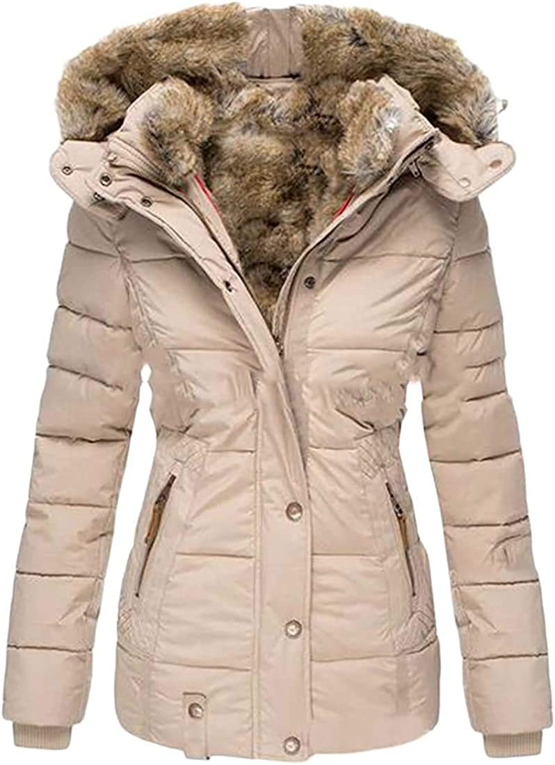 Yhsuk Women Hooded Plus Size Loose Fit Fleece Lined Down Quilted Jacket Coat Outwear
