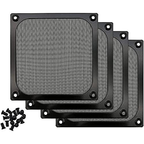 DealMux - Paquete de 4 rejillas de filtro de ventilador de computadora de 120 mm, malla de alambre de acero inoxidable, parrilla de filtro de polvo de aleación de aire de aleación de aluminio, color