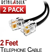 (2 Pack) 2 Feet Short Telephone Cable Rj11 Male to Male 24 inch Phone Line Cord