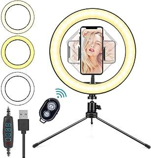Aro de Luz LED 10.2'', HOVVIDA 26cm Anillo de Luz para Móvil, 3 Colores, 10 Niveles de Brillo, Ring Light con Control Remo...