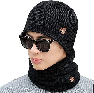 Fine Knitted Men Beanie Hat Scarf Set, Windproof Warm Fleece Circle Snood Plaid Pattern for Winter Sport