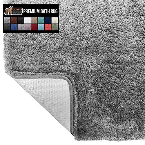 Gorilla Grip Original Premium Luxury Bath Rug, 24x17 Inch, Incredibly Soft, Thick, Absorbent Bathroom Mat Rugs, Machine Wash and Dry, Plush Carpet Mats for Bath Room, Shower, Hot Tub, Spa, Gray