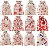 Christmas Burlap Bags with Drawstring, 5 x 7 Inch Christmas Favor Bags Jewelry Candy Pouches Sacks,...