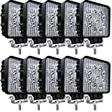Kalysky 10Pcs LED Light Bar, 4Inch 27W LED Light Pods Square Spot Work Lights Off-Road Lights Led Lights for Tractor, Trucks, Off-Road Vehicle, ATV, SUV, UTV, Boat