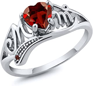 925 Sterling Silver Red Garnet Gemstone Mothers Day MOM Ring 0.56 Ct Heart Shape (Available 5,6,7,8,9)
