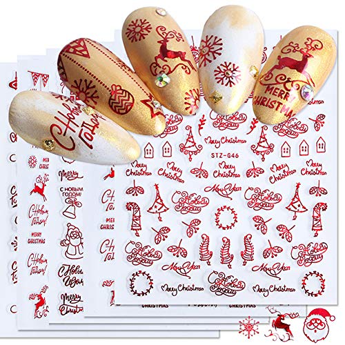 9sheet Christmas Theme Red Nail Art Sticker 3D Self-adhesive Design Snowflake Santa Reindeer Christmas Tree Socks Pattern DIY Nail Accessories Small Decorative Items Feminine Charm Kit