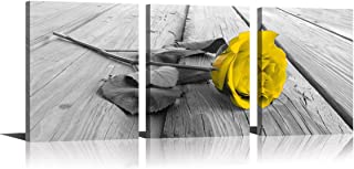 YPY Rose Wall Art for Bedroom Floral Flower Black White Oil Painting Printed on Canvas Artwork Pictures Ready to Hang (Yellow, 12x16in)