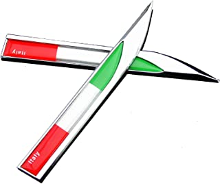 Xuxu521 Metal (2pcs) Italy Italian flag Premium Car Body Side Fender Rear Trunk Emblem Badge Decals (B)