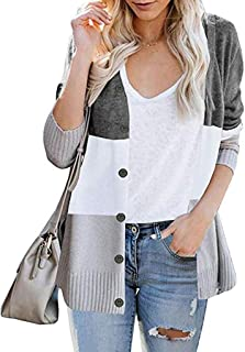 Womens Knitted Cardigan, Beautyfine Casual Long Sleeve Color Block Button Outerwear Sweater