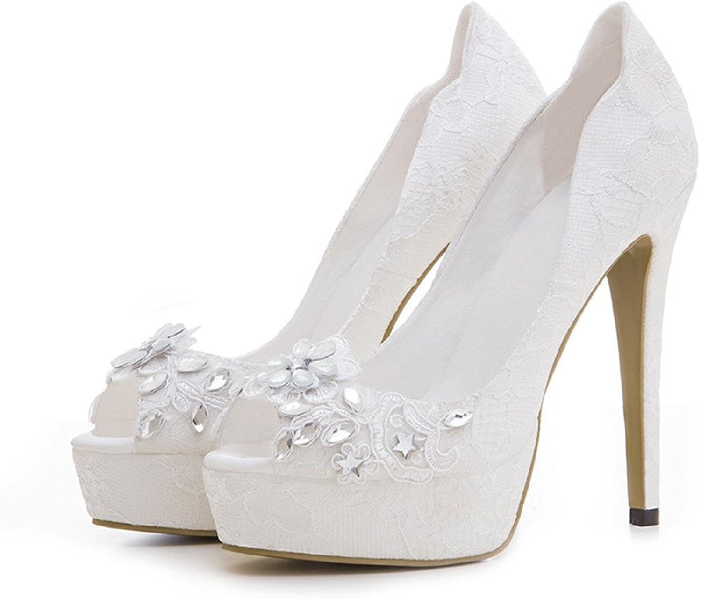 CCBubble Lace Wedding Women shoes High Heels Platform Peep Toe Ladies shoes
