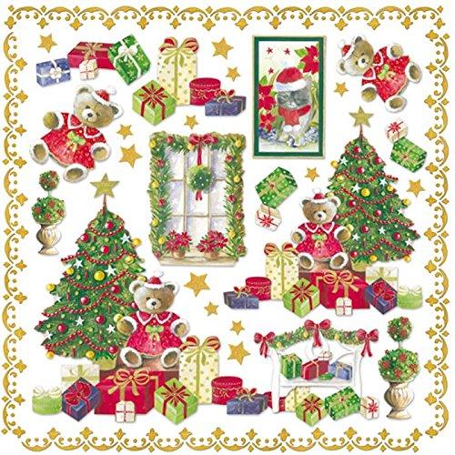 Tovagliolo Carta di riso Albero di Natale ed orsetto  Stamperia DFT216