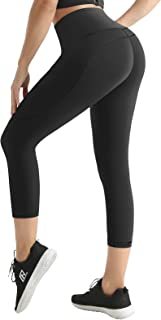UUE Running Tights for Sports and Fitness,Womens Workout Leggings,Black Yoga Pants for Women,high Waist Capri with 3 Pockets