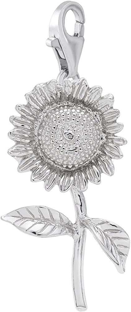 Sunflower Charm with Lobster Claw Clasp, Charms for Bracelets and Necklaces