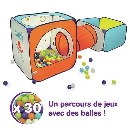 LUDI - Parcours de jeu en tissu et structure pop-up 235 x 80 x 80 cm. Dès 2 ans. Piscine à 30 balles, tunnel et tente. Se range dans un sac. Utilisation en extérieur - 90004