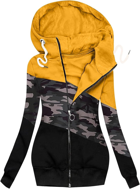 JIANGZHo Hoodies for Women Camo Splicing Long Sleeve Hoodies Cardigan with Pocket Coat Classic BF Coat