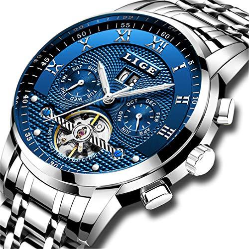 LIGE Impermeable para Hombre Acero Inoxidable Reloj Mecánico Automático Negocios Vestido...