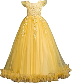 LvRao Girls Party Dress Ball Gown Wedding Special Princess Dresses Flowers Bow Tie Tulle Skirts