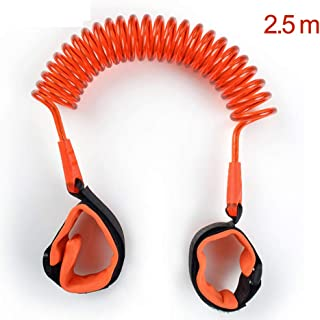 Anti Lost Safety Wrist Link Belt, 2.5M Harness Flexible Adjustable Child Walking Strap, with 360 °Rotation and Retractability Wrist Harness Set, Suitable for 1-12 Year Old Child,Orange
