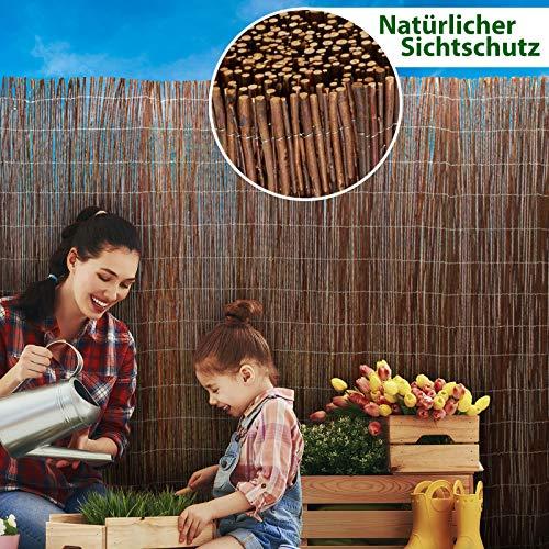 casa pura® Weidenzaun Sichtschutz - Fachhandel-Qualität - kürzbar, rostfrei - Weidenzaunmatte Weidenmatte - Weiden Sichtschutzmatte - Natur Sichtschutz aus Holz - viele Größen - 150 x 500 cm