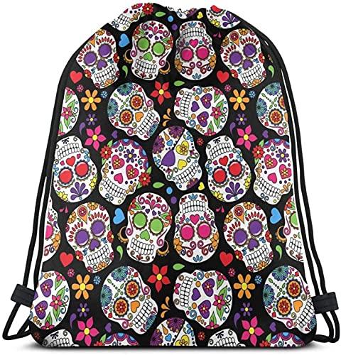 Sugar Skull Drawstring Backpack Lightweight Shoulder SchoolBag for Students Teens Boys Girls Travel Camping