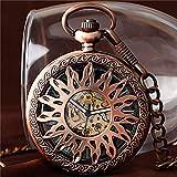 MOLINB Taschenuhr Coole Rose Gold/Silber Hollow Sun Steampunk Mechanische Selbstwind Taschenuhr Unixes Skeleton Fob Uhren Mit 30 Taschen Kette, Rotgold
