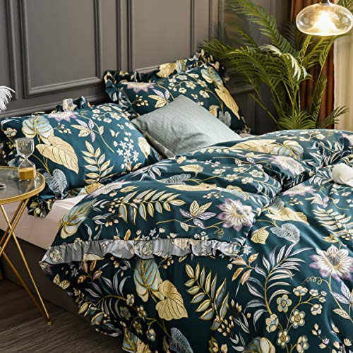 Softta Luxury Ruffle Duvet Cover Twin Bedding Set 3Pcs Vintage and Farmhouse Tropical Plam Leaves Shabby Floral Girls Teal Purple Yellow Colorful 100% Egyptian Cotton with Hidden Zipper Closure