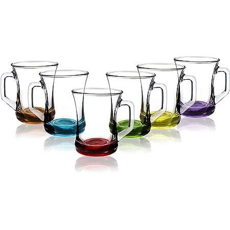 Lav Lot de 6 tasses à boisson chaude en verre avec base colorée pour thé, café, latte, cappuccino (207 ml)