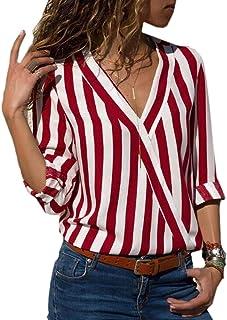 HTOOHTOOH Women Stripe Roll Up Sleeve V Neck Chiffon Wrap Casual Shirt Blouses