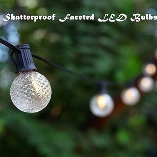 Commercial Grade Heavy Duty LED Patio String Lights, G50 Diamond Faceted Shatterproof LED Bulbs, Home Decor Weatherproof Globe Lights for Backyard Garden Gazebo Bistro, 24 Feet 15 Lights (Warm White)